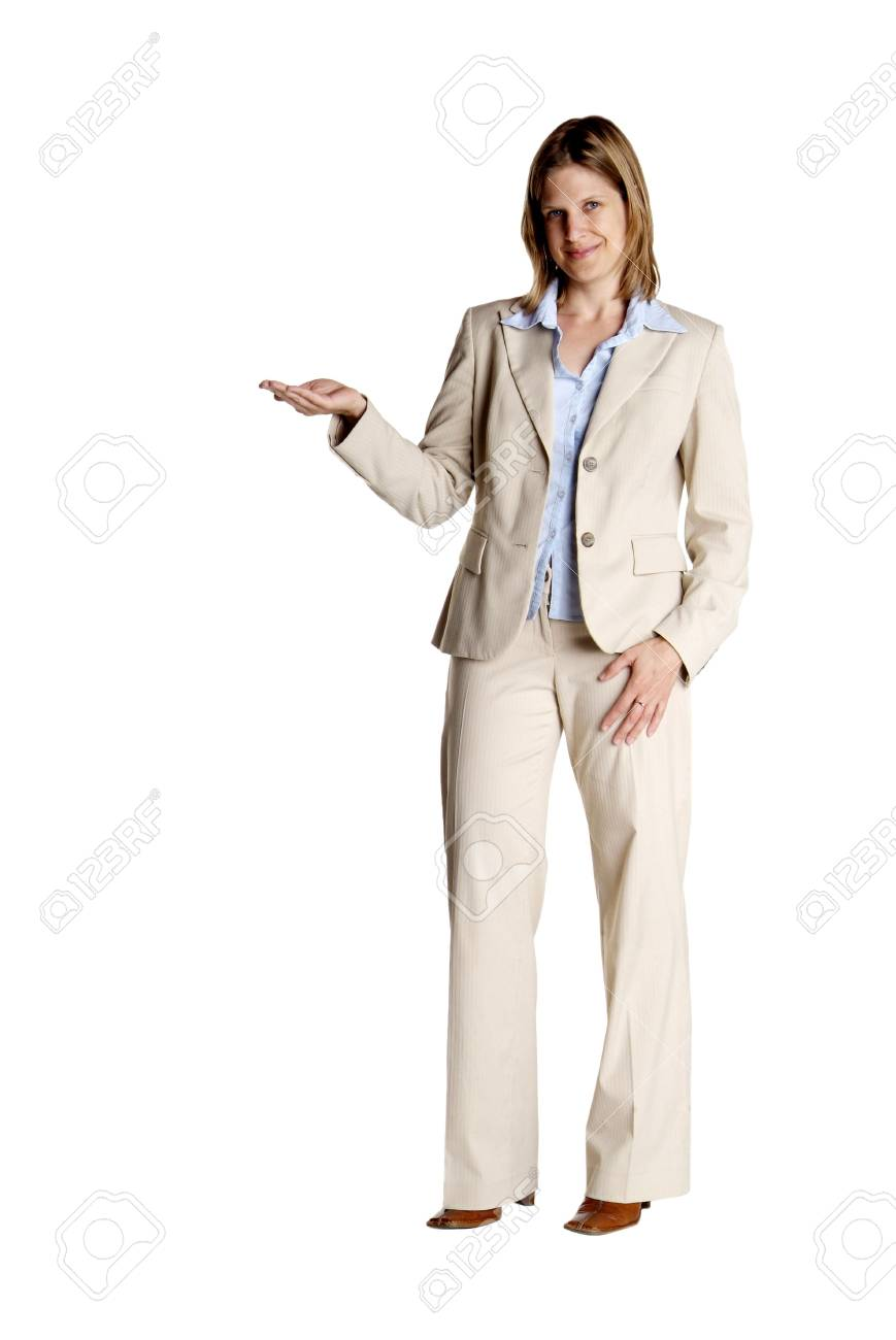 a young business woman with white suit shows Stock Photo - 2420915