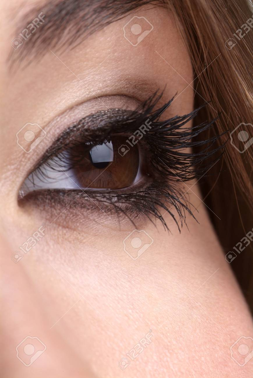 detail of a made up brown eye and brow Stock Photo - 2533482