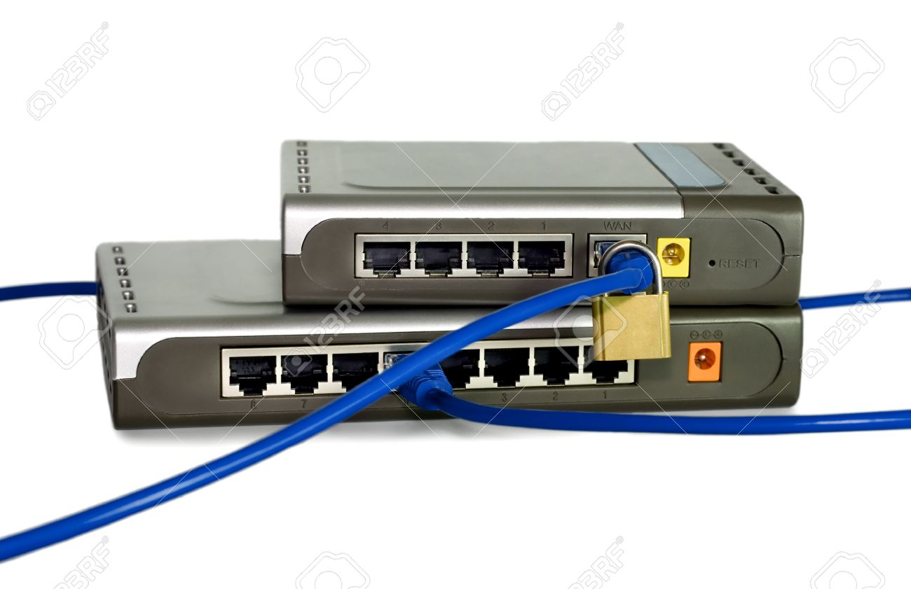 Network Cables Is Run Through A Lock Connected To Switch Or Router ...