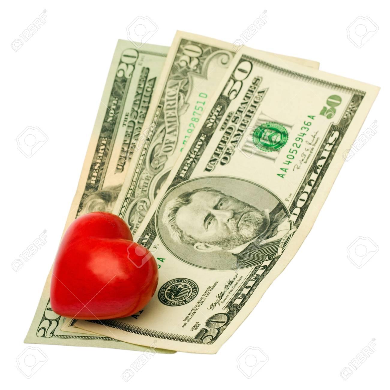 dollar heart isolated on white background Stock Photo - 13116248