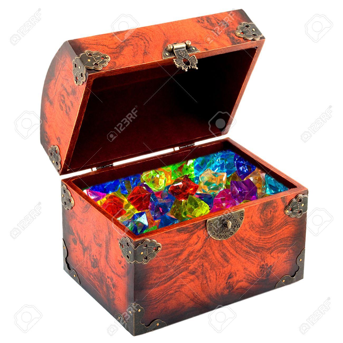 Open treasure chest diamond isolated on white background Stock Photo - 13962833