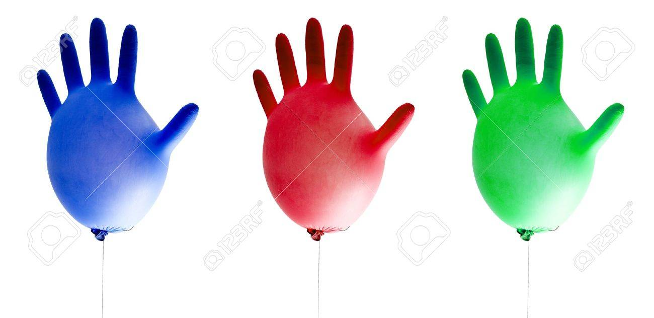 balloons cleaning gloves isolated on white background Stock Photo - 14479017