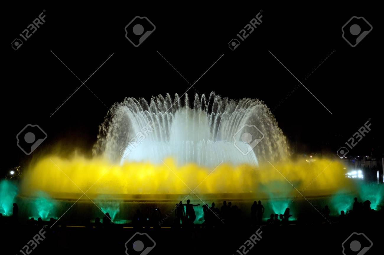 Night watching colorful fountain night show, Barcelona, Spain Stock Photo - 16693534