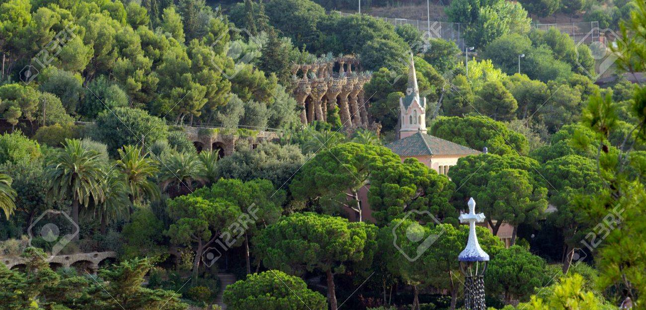 Parc Guell - park city designed by Antoni Gaudi, Barcelona, Spain Stock Photo - 17087085
