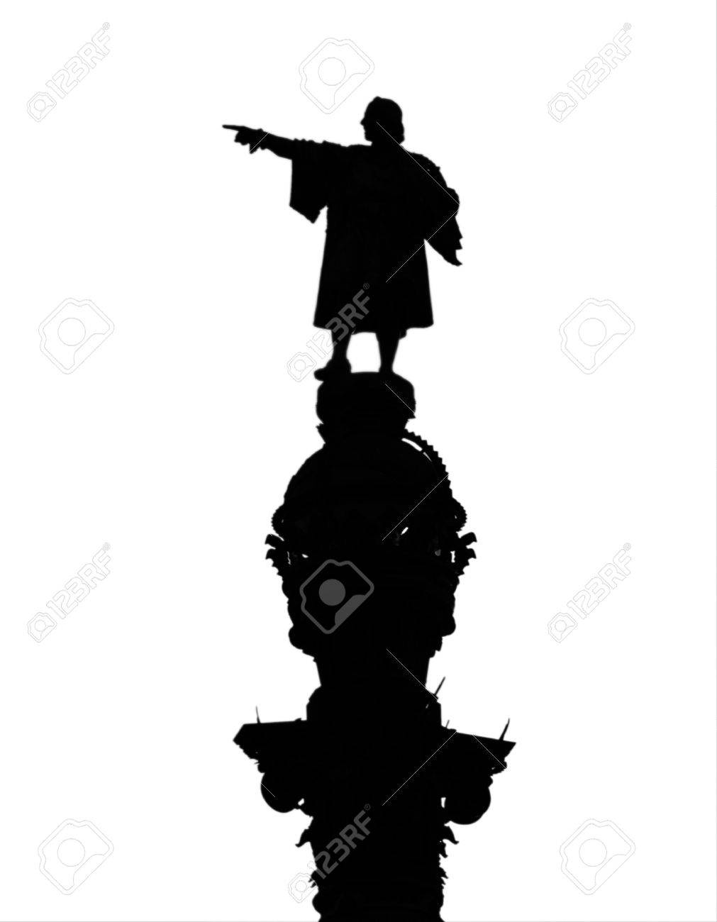 silhouette of christopher columbus statue isolated on white stock