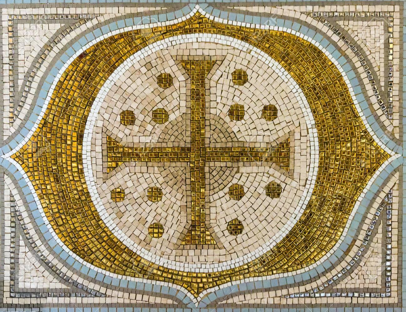 Mosaic Tile Gold Cross Christianity Religious Decor Stock Photo ...