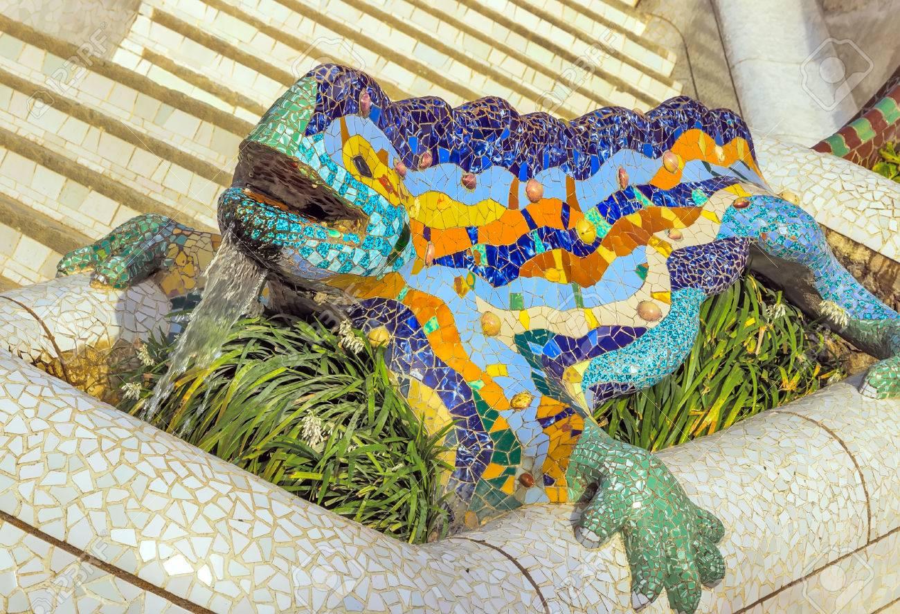 Mosaic Dragon Iguana Lizard Sculpture At The Parc Guell Designed ...