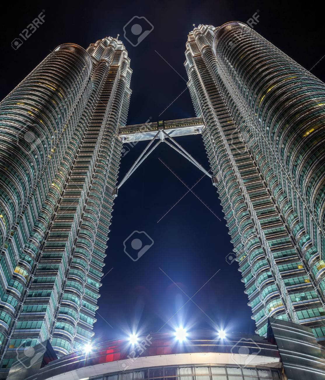 The petronas twin towers night as seen from the ground in kuala the petronas twin towers night as seen from the ground in kuala lumpur malaysia are buycottarizona Gallery