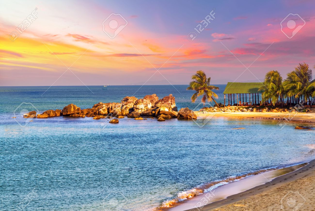 Sunrise Tropical Landscape Sea Granite Rocky Beaches On