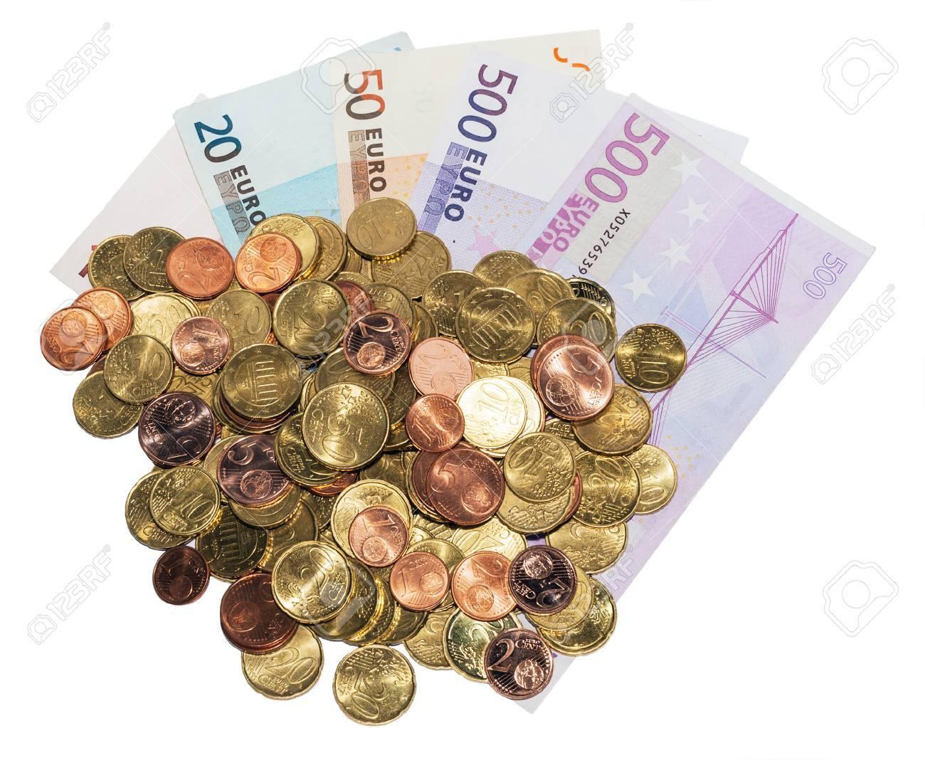 500 Euro Banknote Und Euro Münzen Sammlung Europa Set Isoliert Auf