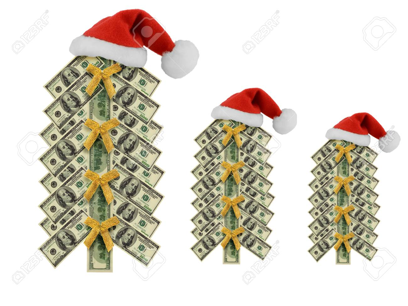 Set Money Santa Hat Christmas Dollar Tree From Different Banknotes ...