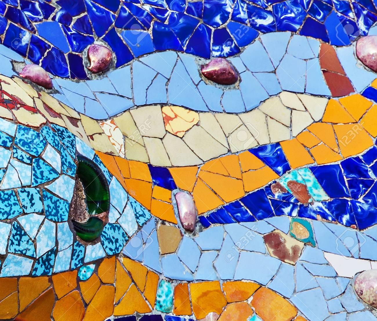 Texture Mosaic Of Colored Ceramic Tile By Antoni Gaudi At His ...