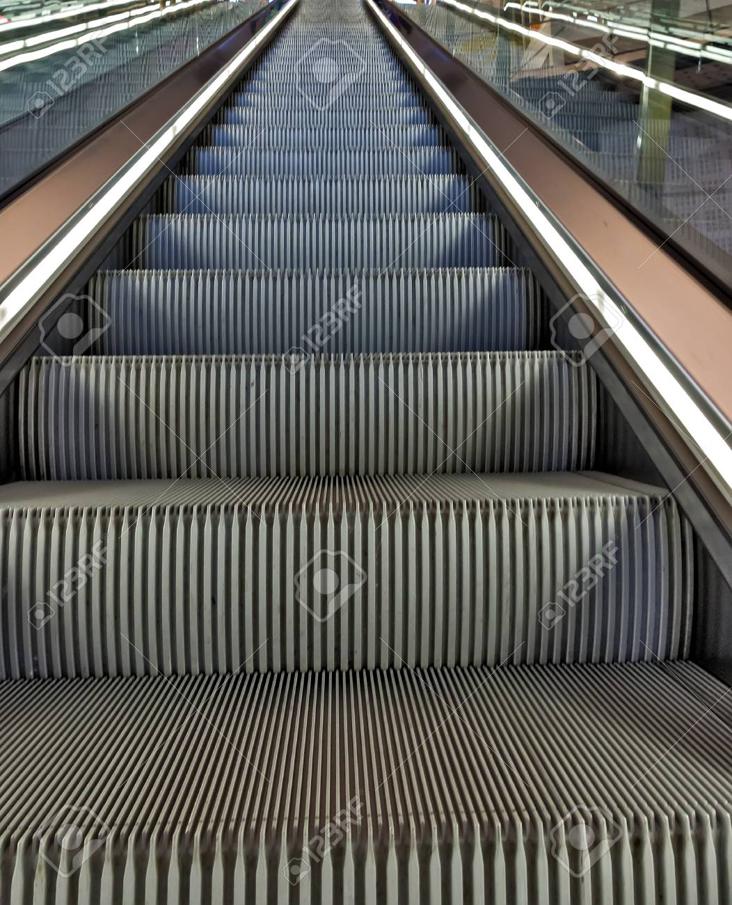 Empty Escalator Is A Moving Staircase Transportation Stock Photo   91886963