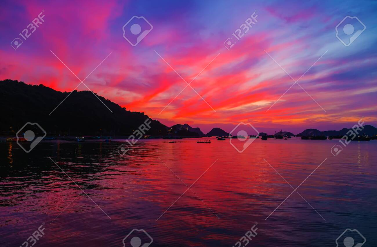 Sunset Horizon Sea Water Landscape Background Mountains And The
