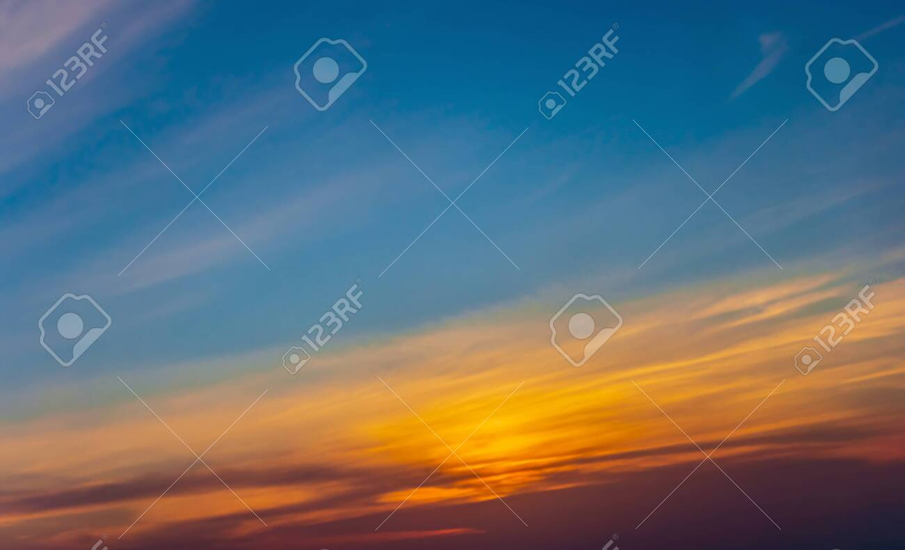 Sunset sky panoramic photo cloud color background - 131510563