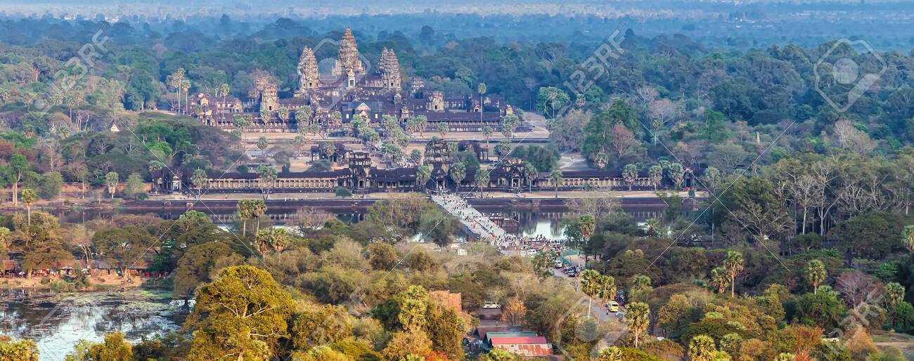Angkor Wat aerial view skyline Siem Reap Cambodia Cityscape - 148524633