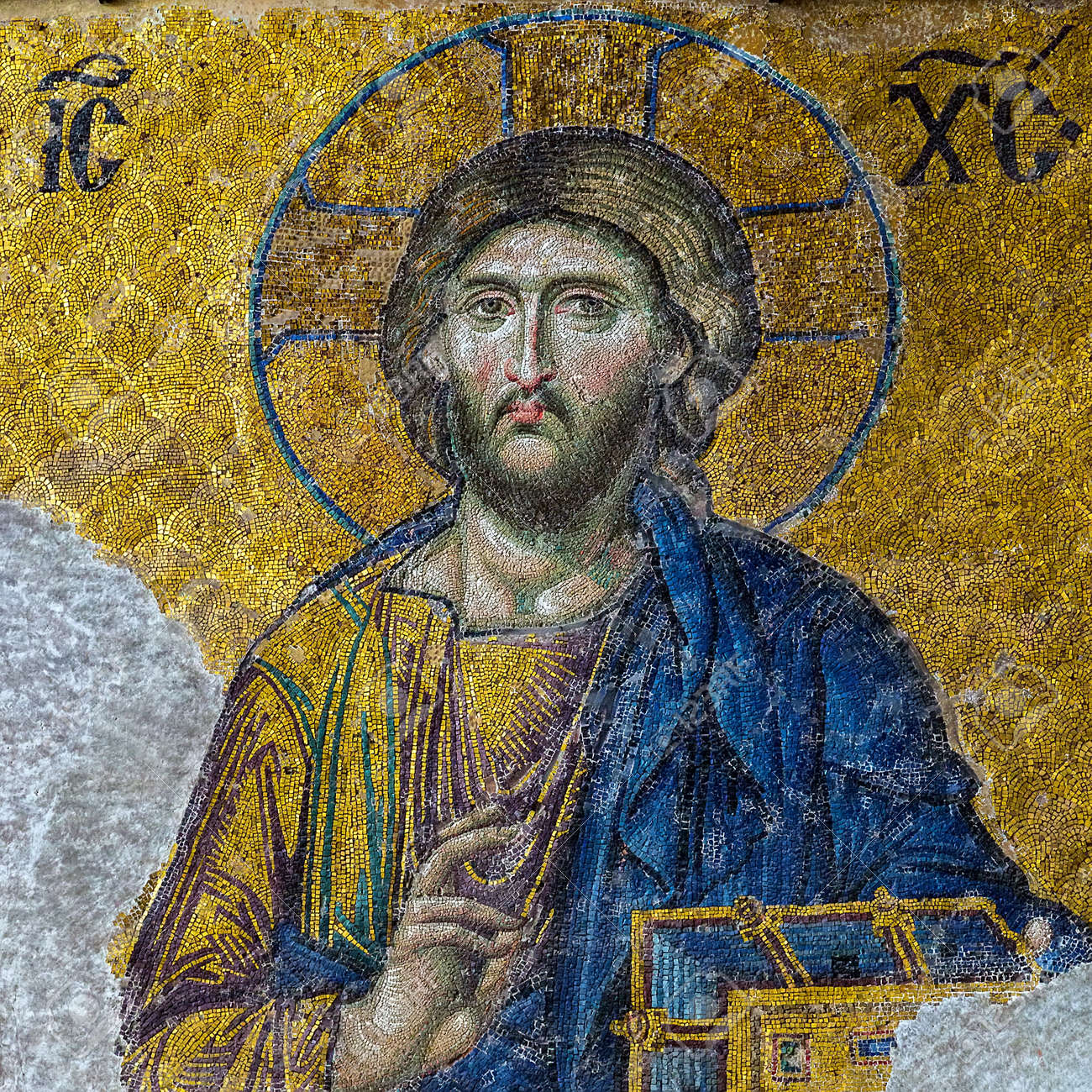 Christian mosaic icon of Jesus Christ easter symbolic. Easter card square frame background - 165944830