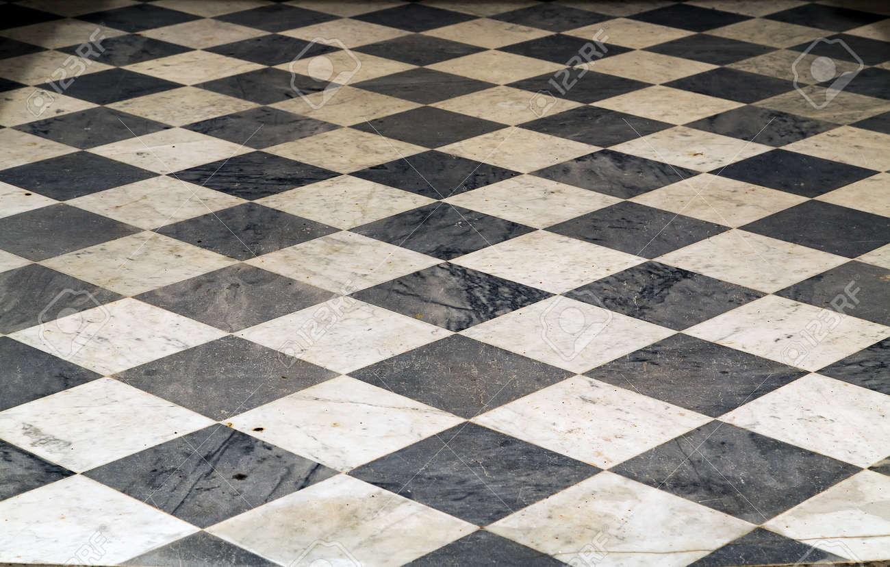 Ceramic Tiles ceramic floor square texture pattern black white chess background perspective interior - 169239828
