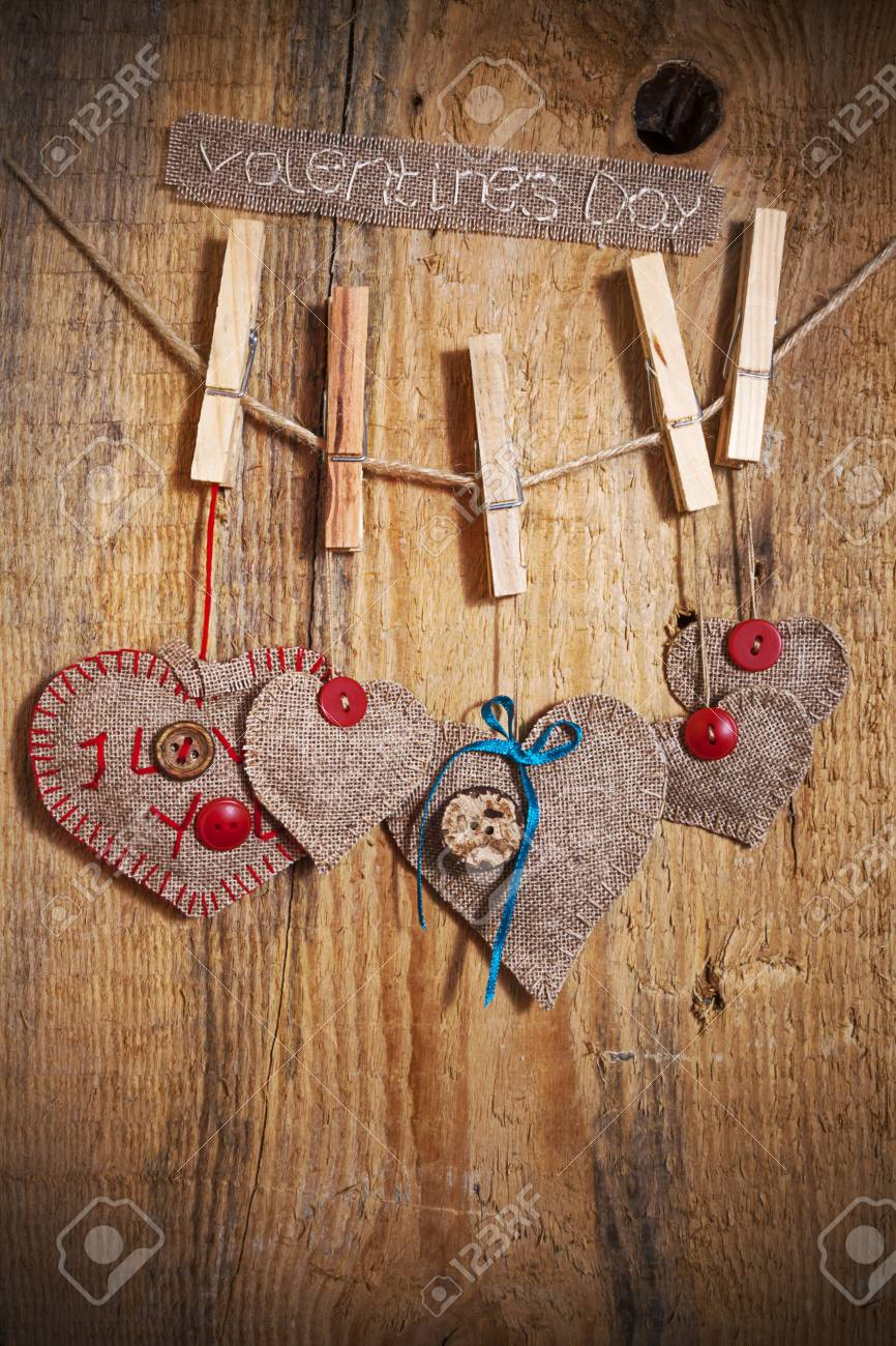 Decoration on Wooden background with fabric Hearts and words Valentines Day Stock Photo - 17454229