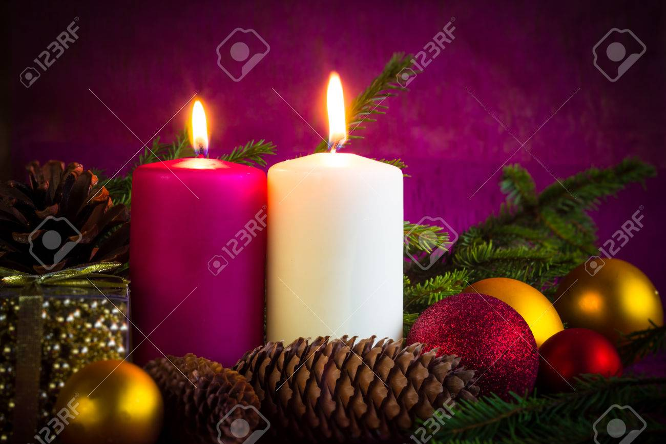Christmas Ornaments. Lighted Candles, Baubles, Cones And Spruce ...
