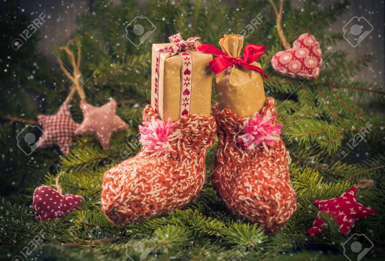 Christmas Gifts In Handsewn Socks. Christmas Decorations In The ...