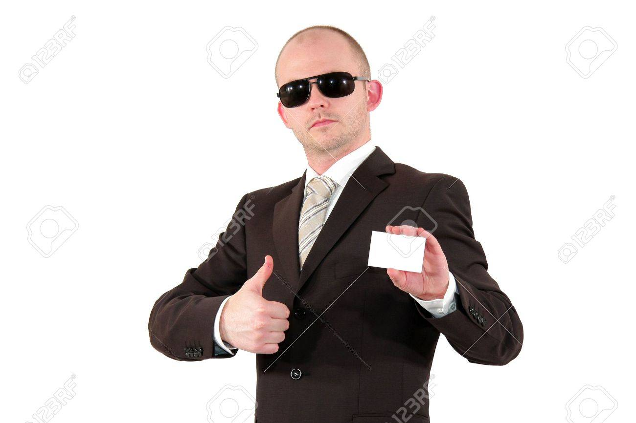 A Young Business Man With Sunglasses Showing A Business Card.. Stock ...
