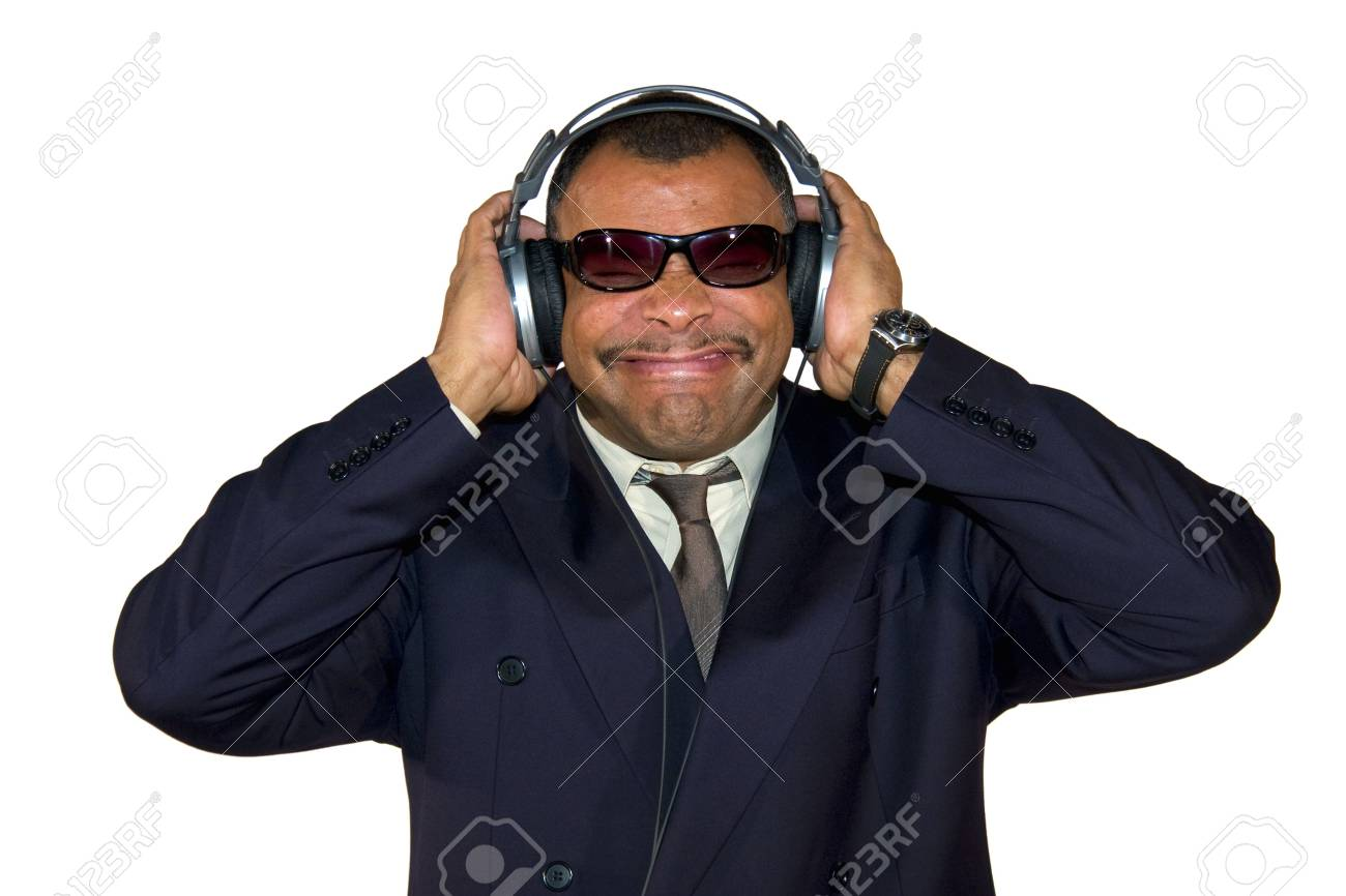 A Mature Arfrican American Man With Headphones Listening To Bad Stock Photo Picture And Royalty Free Image Image 6473590