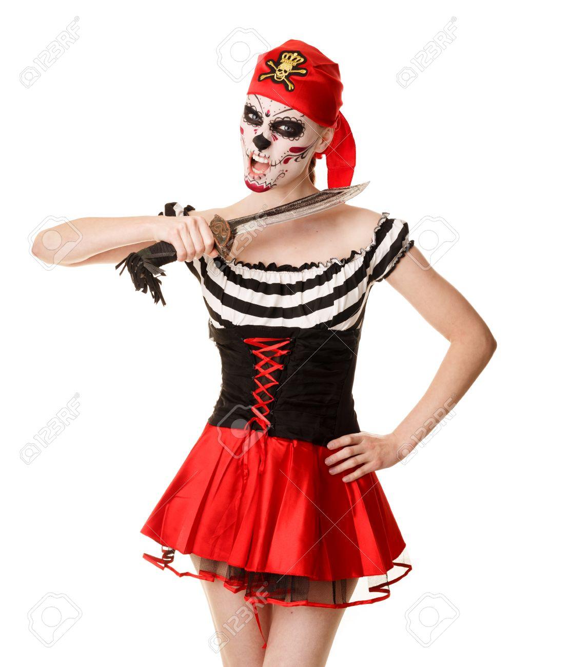 Disfraz De Halloween Mujer Pirata Con Una Espada Maquillaje - Maquillaje-de-pirata-para-mujer