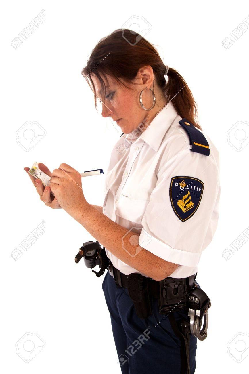 dutch female police officer on white background Stock Photo - 11646709