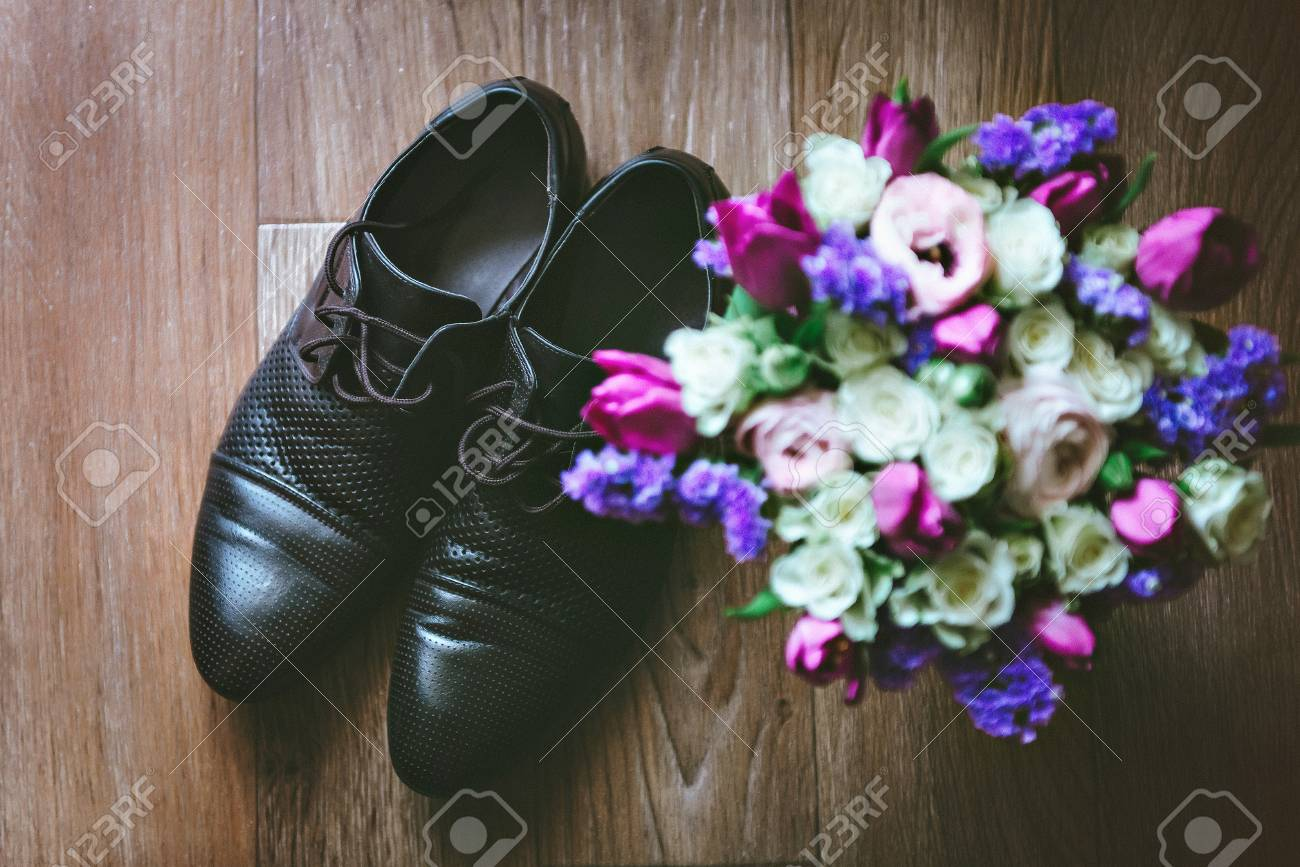 Purple Pink White Wedding Bouquet Of Flowers Mens Black Shoes