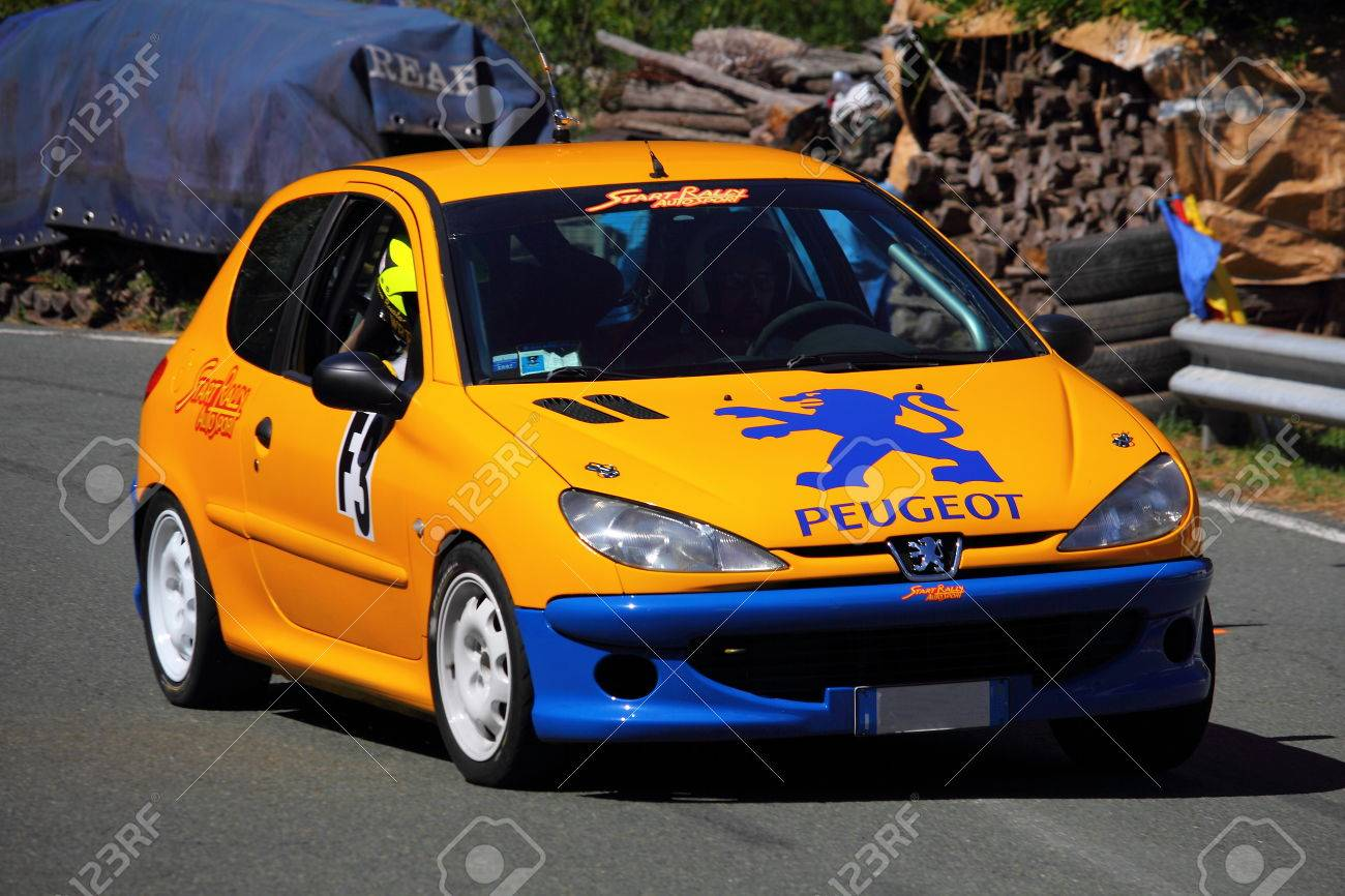 93f8dd266 Peugeot 206 RC rally car during the race of the speed uphill Falco Castle  2017 Edition