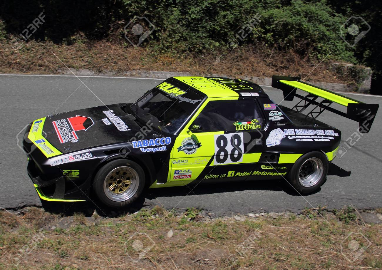 fiat x1 / 9 prototype rally car during the race of the speed.. stock