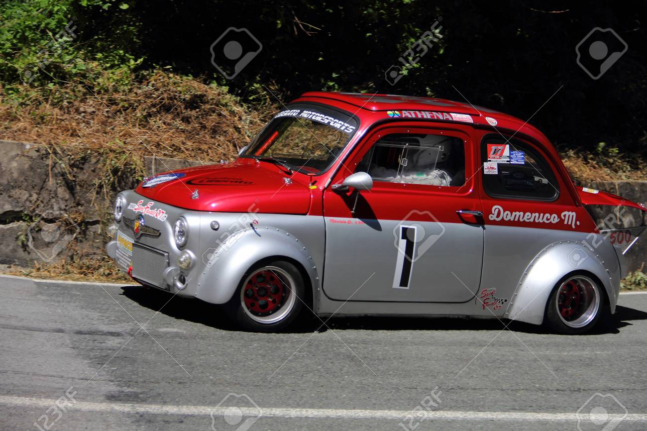 Fiat 500 Prototype Rally Car During The Race Of The Speed Uphill
