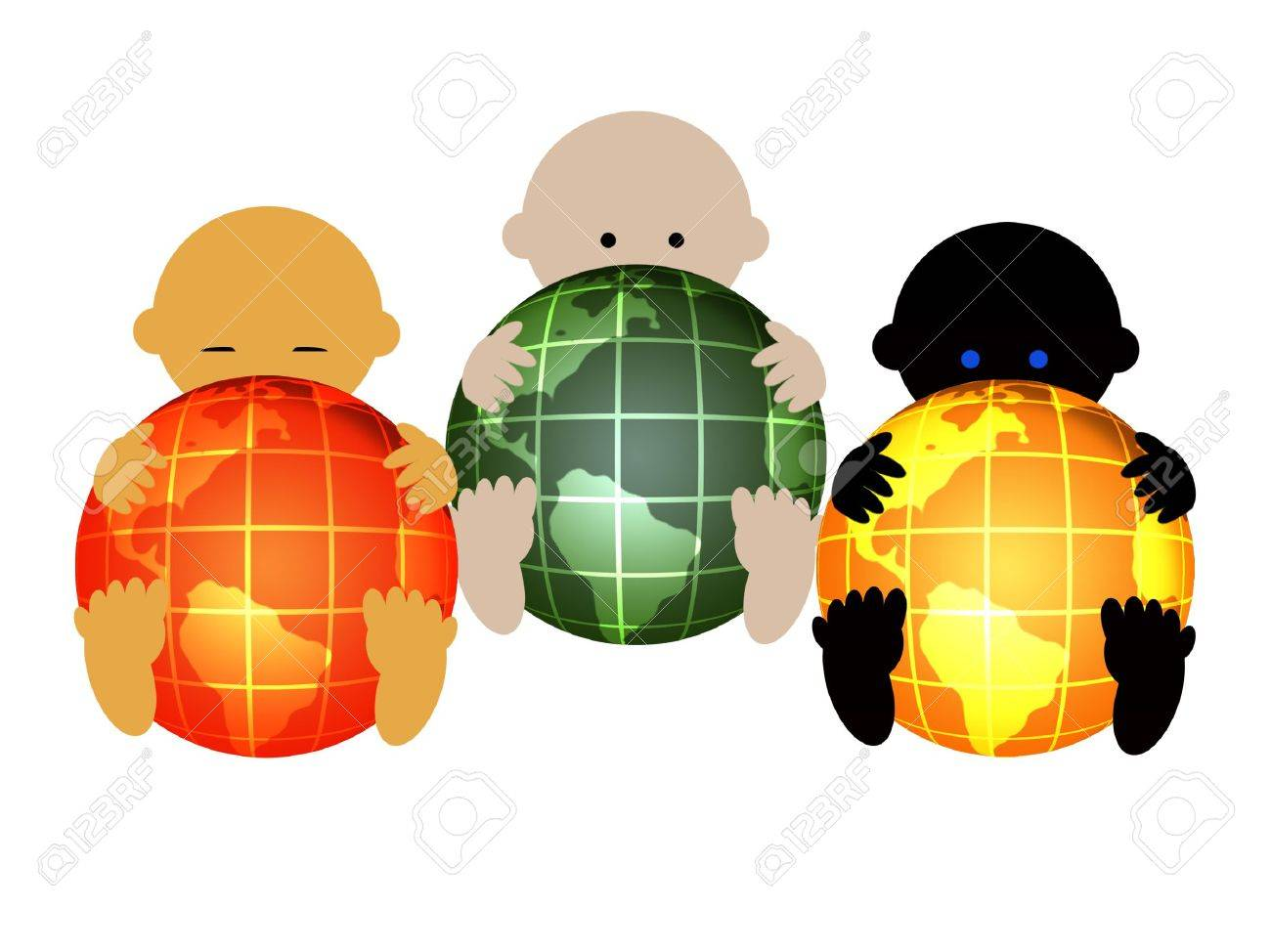 Three international babies Stock Photo - 5989704