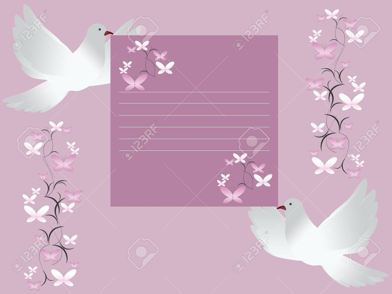 Wedding Card Invitation With White Doves Stock Photo, Picture And ...