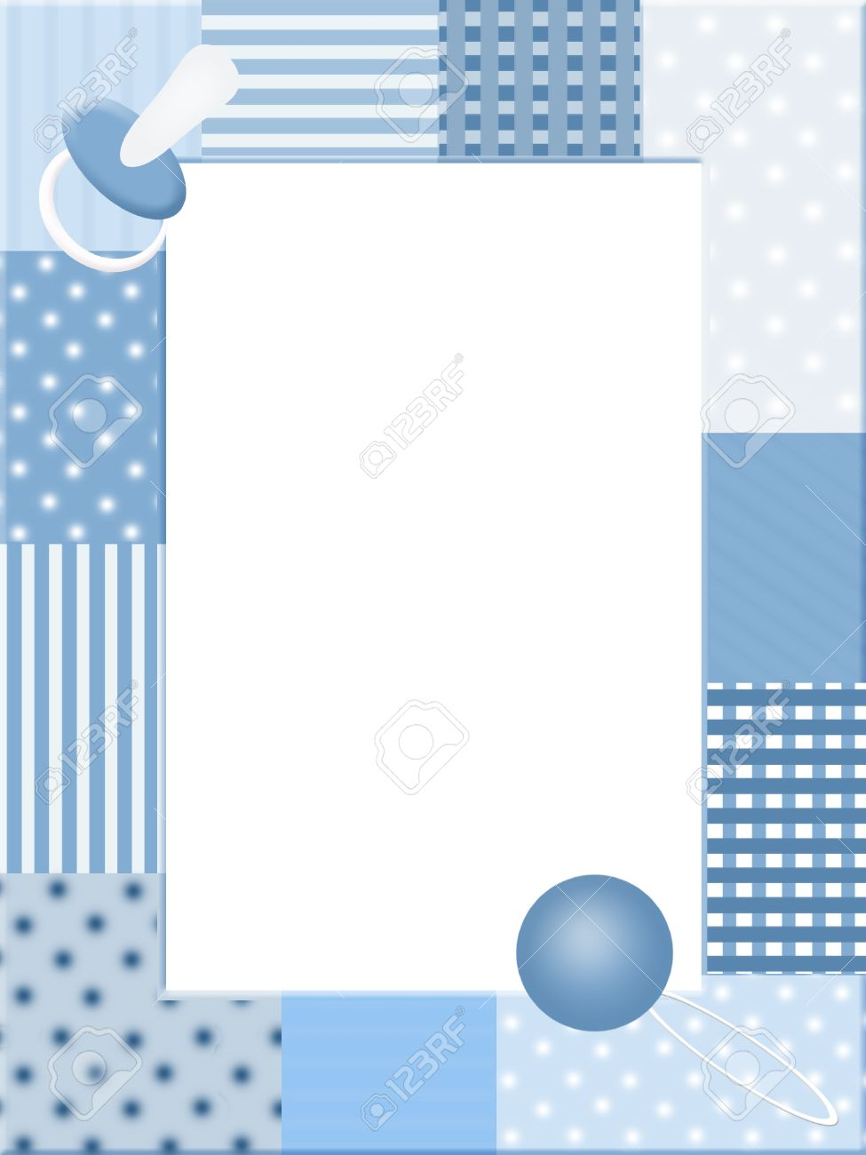 blue photo frame with baby icons stock photo
