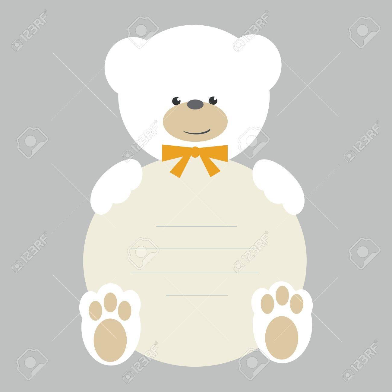 White teddy bear with banner vector Stock Vector - 12467152
