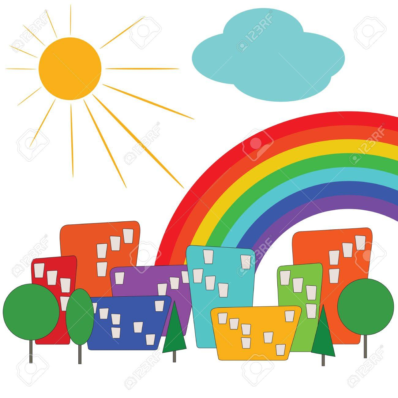 Colorful city with sun and rainbow Stock Vector - 12467175