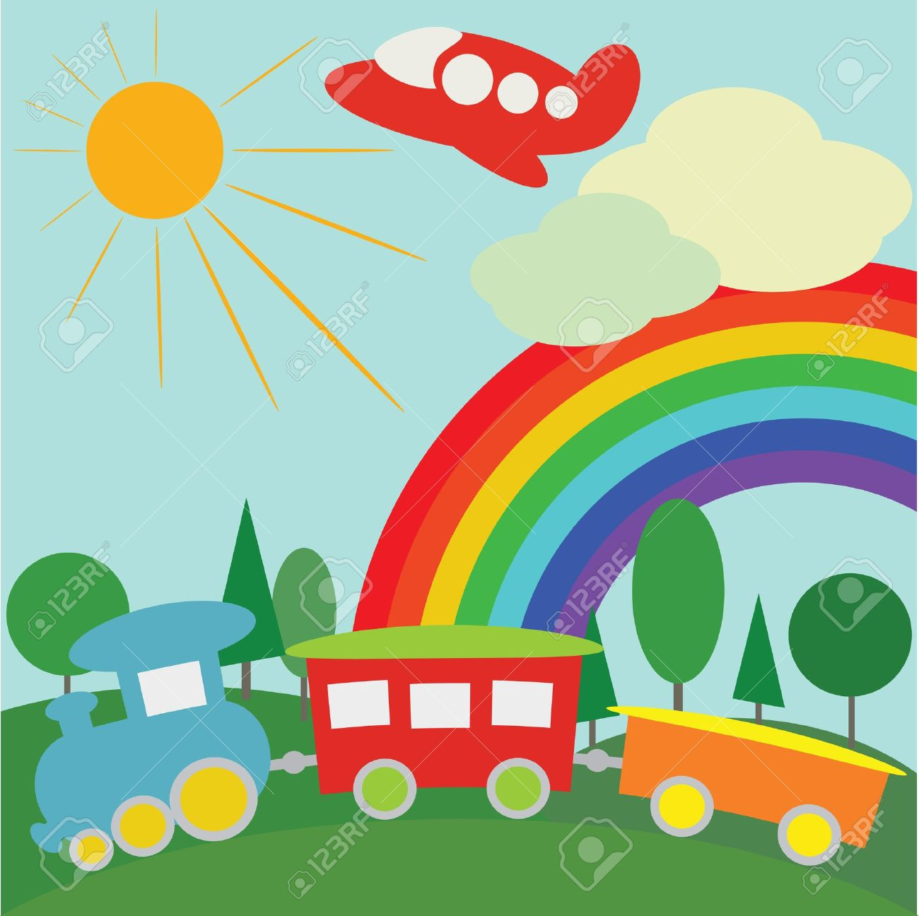 children background with train plane and rainbow royalty free