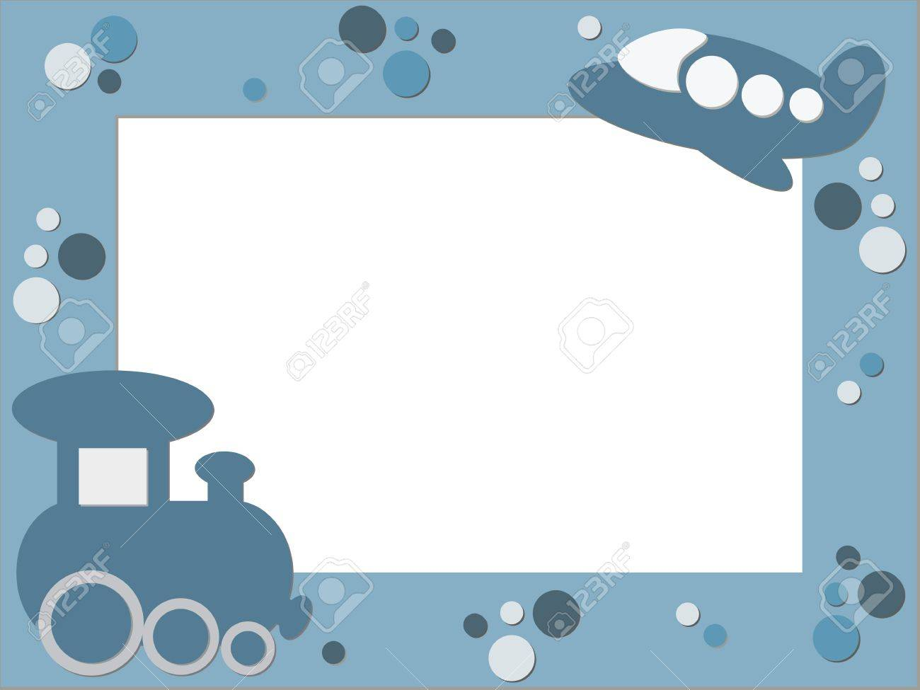 Blue children photo frame with plane and train royalty free blue children photo frame with plane and train stock vector 13739712 jeuxipadfo Gallery