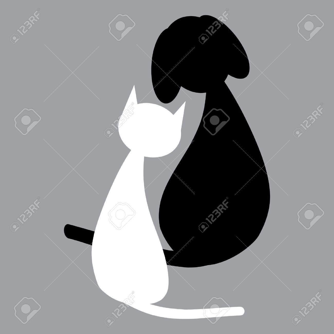 Dogs Black And White Clipart White Cat And Black Dog