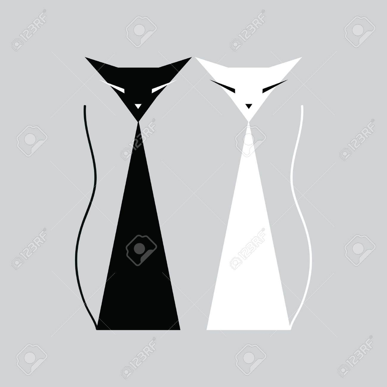 Black and white cats Stock Vector - 13739681