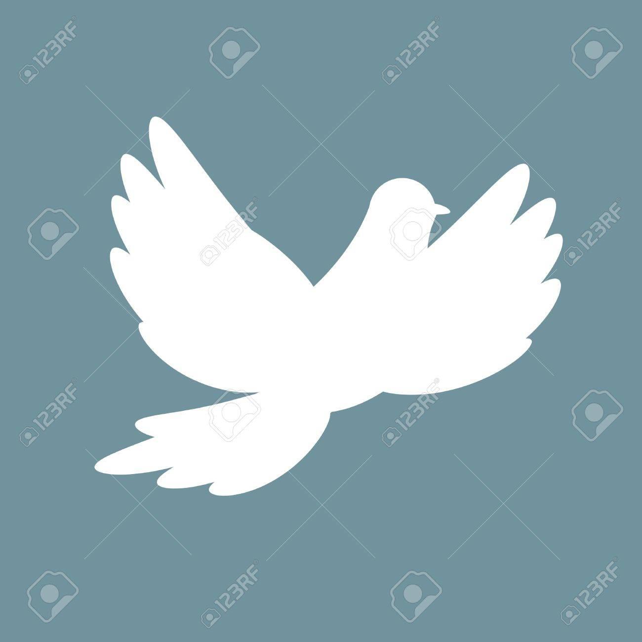 Silhouette of white dove