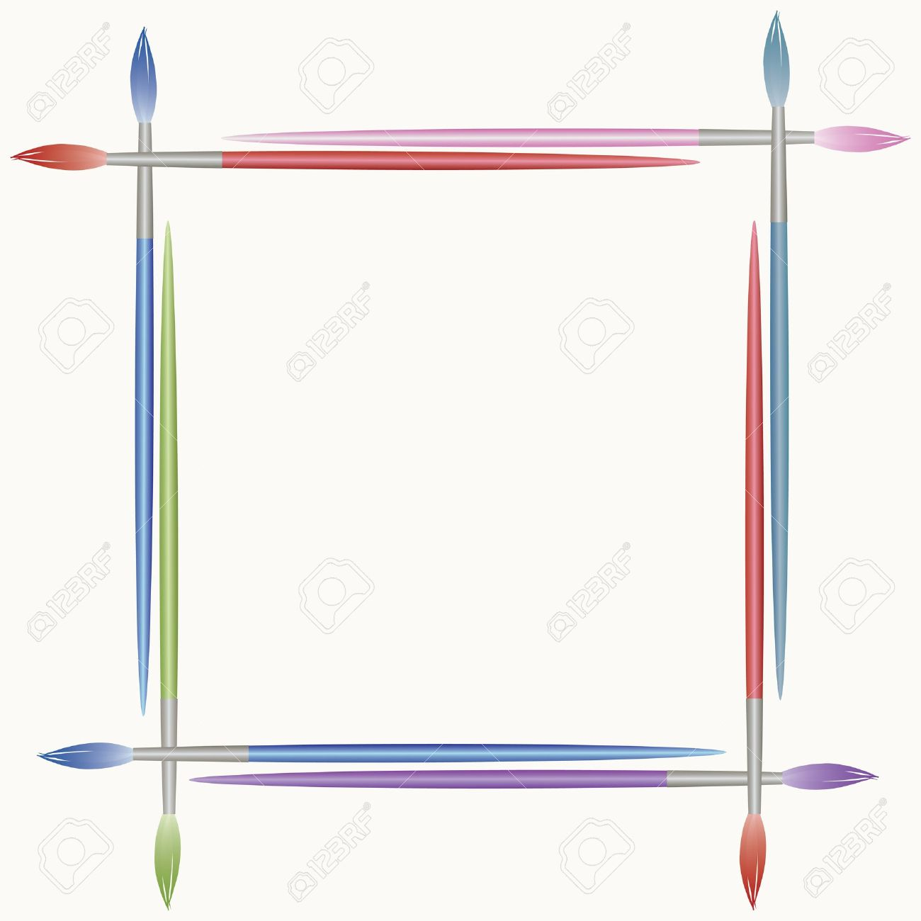 Frame from paints brushes Stock Vector - 14677537