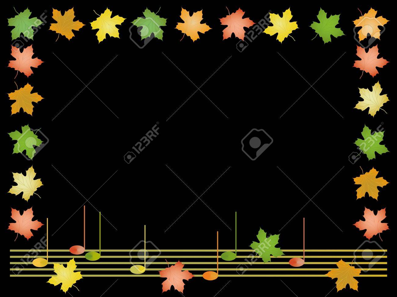 Frame from leaves of maple and musical notes Stock Vector - 15164459
