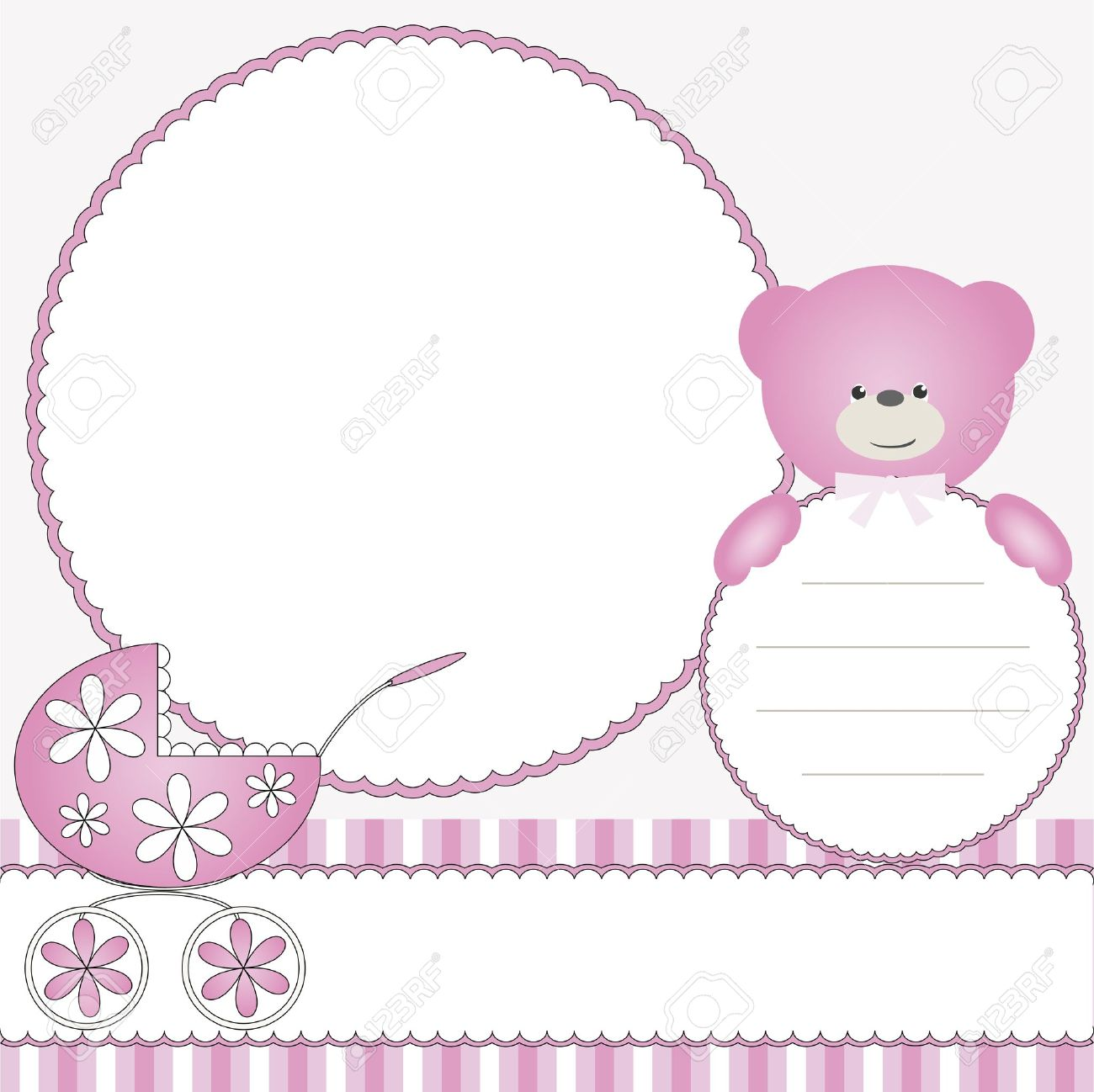 pink babies background with photo frame stock vector 15164505