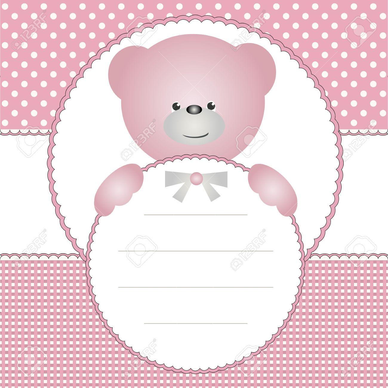Babies invitation card or name tag with teddy bear royalty free babies invitation card or name tag with teddy bear stock vector 15495556 stopboris Images