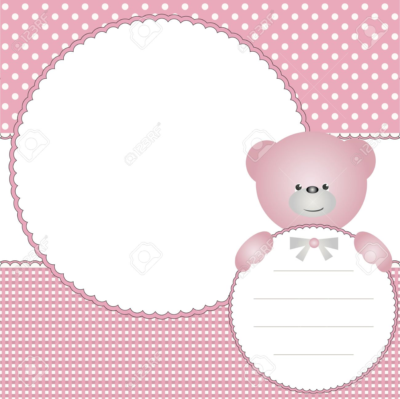 Babies Girl Background With Photo Frame And Teddy Bear Royalty Free ...