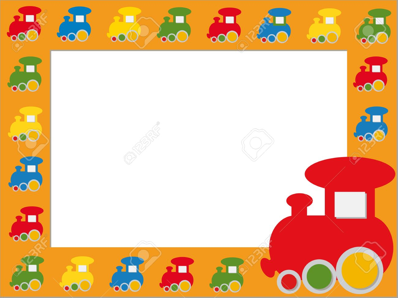 Children photo frame with colorful trains Stock Vector - 16664545