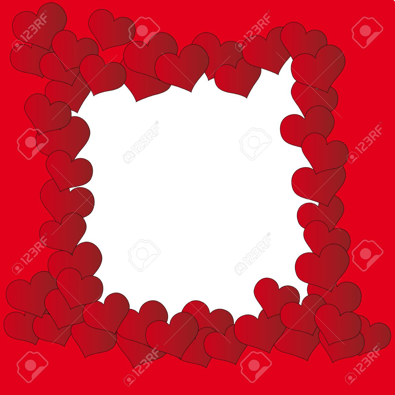 Valentine Background With Frame Of Hearts Royalty Free Cliparts ...